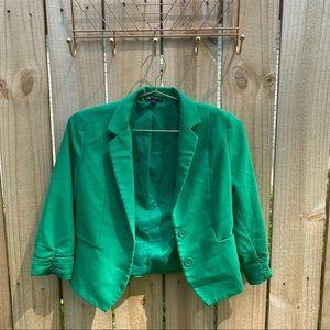Express Cropped Green Blazer